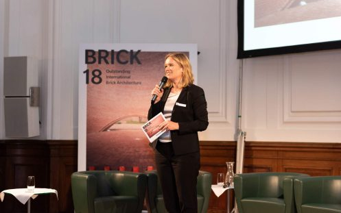 Brick Award 18 Symposium, Corinna Milborn on stage